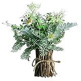 Aisamco Flores Artificiales Surtidas Ramas de Plantas Verdes Falsas con Soporte de Madera Natural Flor Artificial Planta Falsa Verdor Arreglo Floral para decoración de Bodas Fiesta en el hogar