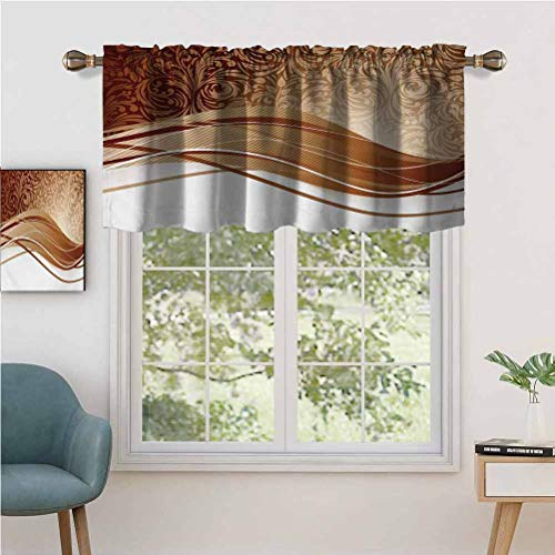 Small Kitchen Window Curtains Valances Brown Toned Classical Medieval Foliage Motifs with Curved Stripes, Set of 1, 36'x18' for Kitchen Bathroom and Cafe