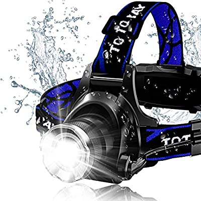 Headlamp, Zoomable 3 Modes Super Bright LED Headlamp with Rechargeable Batteries, Car Charger, Wall Charger and USB Cable