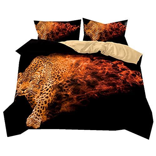 Ropa de Cama Patrón de Animales 3D Súper Suave y Transpirable Funda de edredón y Funda de Almohada (Leopardo, 220 x 260 cm - Cama 180 cm)