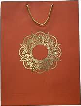 "MSTD Eco-Friendly Premium Saffron Coloured Golden Foil Rangoli Print Design Paper Bag Pack of 12 (12"" x 16"" x 3.5"")"