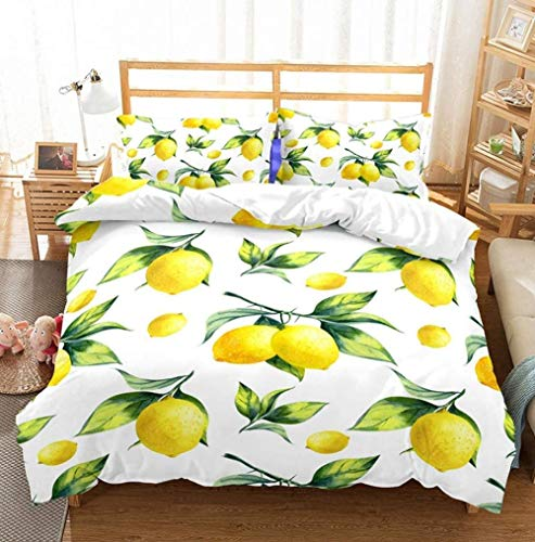 XZHYMJ 3D Digital Printing Fruit Orange Lemon Pineapple Bedding Set With 2 Pillowcases Duvet Cover Sets 3 Superking-King_6