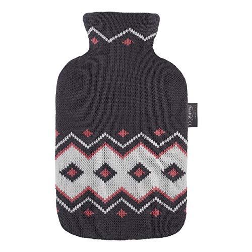 Fashy - Borsa dell'acqua calda, 2,0 l, con rivestimento lavorato a maglia, design norvegese, colore: Nero