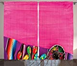 Ambesonne Mexican Curtains, View of Folkloric Serape Blanket Charro and Music Instruments Cultural Elements, Living Room Bedroom Window Drapes 2 Panel Set, 108' X 84', Fuchsia Purple
