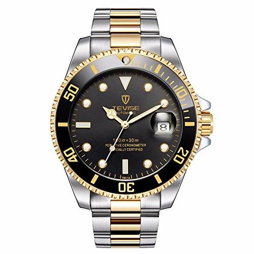Swiss Luminous Submariner Watch Men's Mechanical Watch Fashion Steel Waterproof Watch (Gold - Black)