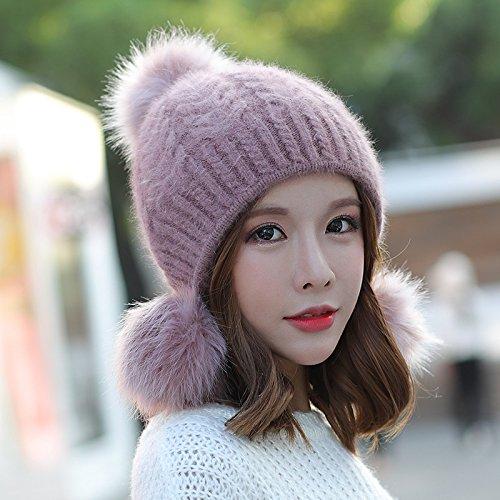 YANGFEIFEI-MZ De vriendin vriend Vrouwen gebreide muts schattige kinderen hoed winter dubbele oor dikke warme winter hoed mode, Taro poeder Taro poeder