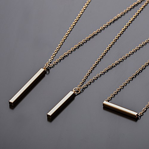CEALXHENY 3PCS Gold Chain Necklaces for Women Bohemia Layered Bar Pendant Necklaces Set Y Necklaces for Summer Beach Vacation (B Gold)