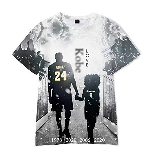 JHJU Lakers No. 24 - Camiseta deportiva para hombre y mujer con mangas cortas, estilo casual a la moda, camisetas de cuerpo oscilante XL A