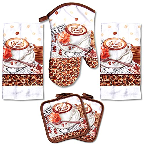 Coffee and Latte Printed Kitchen Linen Set
