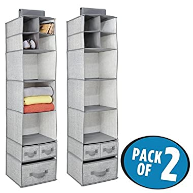 mDesign Fabric Closet Organizer for Sweaters, Shoes, Scarves - Pack of 2, 7 Shelves and 3 Drawers Each, Gray