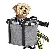 Lixada Bike Basket, Small Pet Cat Dog Carrier Bicycle Handlebar Front Basket