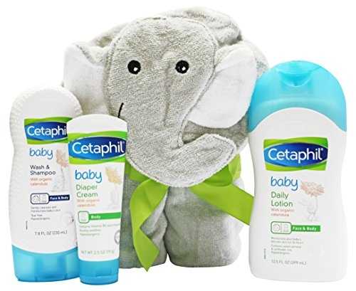 Cetaphil Baby Sensitive Skin Bath Time Essentials Gift Set with Elephant Hoodie Towel