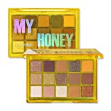 UCANBE Colorful 15 Shades Eyeshadow Makeup Palette,Shimmer Matte Metallic High Pigmented Neutral Bold Waterproof Eyes Shadow, Creamy Blendable Make Up Pallet Set (My Honey)