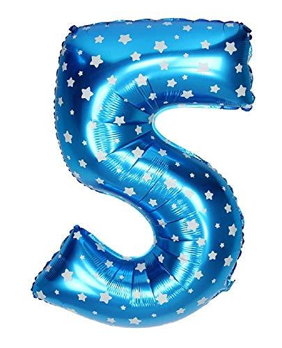 takestop Palloncino Numero 5 Azzurro con Stelle Bianche Stelline 35CM con Elio O Aria Decorazione Compleanno Animazione Feste Party Festa