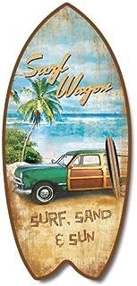 Highland Graphics Retro Vintage Surf Wagon Tropical Beach Mini Surfboard Plaque Home Décor Accent 11