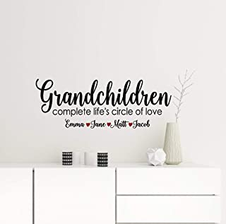 456Yedda Grandparents Gift Grandchildren Complete Lifes Circle of Love Wall Decal Grandma Sign with Grandkids Names Custom Vinyl Decals for Crafts Home Décor Wall Décor Home Decor
