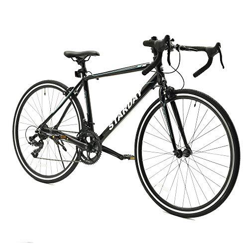 ロードバイク 自転車 700x25C シマノ製14段変速 軽量アルミ製フレーム 前輪クイックリリース 前後キャリパーブレーキ 2WAYブレーキシステム搭載 ワイヤ錠・ライトのプレゼント付き マウンテンバイク ブラック SY-22BK