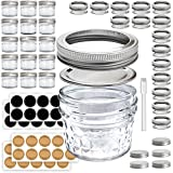 Mini Mason Jars 4 oz - Small Glass Jar with Lids - 15 Pack with Labels - Clear Glass Container for your overnight oats, yogurt, spice, honey, and canning needs