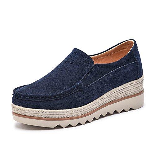 LILY999 Mocassini Donna in Pelle Scamosciata Moda Comode Loafers Scarpe da Guida con Zeppa Plateau 5cm Nero Blu Cachi(Blu Scuro,34 EU)