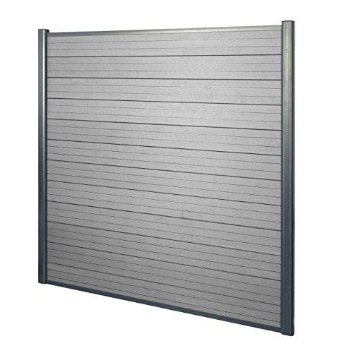 Mendler WPC-Sichtschutz Sarthe, Windschutz Zaun, Alu-Pfosten ~ Basiselement, 1,90m grau