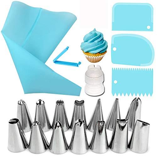 20PCS Spritztüllen Set, Silikon Spritzbeutel mit 14 Edelstahldüsen, Cake und Plätzchen Dekoration Set, Sahnespritze, Einweg Piping Bags für Torten, Kuchen,...