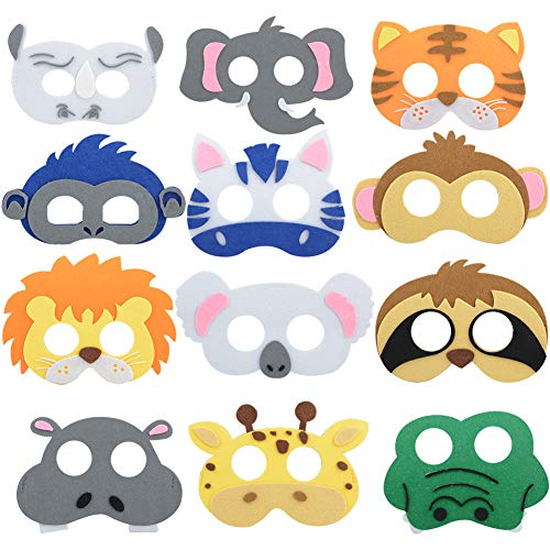 Ironhorse Filz-Masken mit Safari-Dschungelmotiv, für Geburtstagspartys, Kinderkostüme, Partyzubehör, 15 Stück