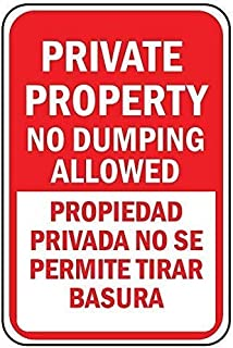 TTDECK Tin Sign Private Property No Dumping Propiedad Privada Wall Plaque Sign 8x12 Inch