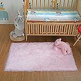 DAOXU Piel de Imitación,Cozy sensación como Real, Alfombra de Piel sintética Lavable para sofá o Dormitori (75 x 120 Rosa
