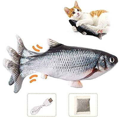 Charminer Catnip Fish Toys for Cats, Realistic Plush Electric Wagging Fish Toys,Chew Simulation Funny Interactive Toys for Cats Pets Kitten,Funny Cute Toys can Help Teeth Cleaning(Gray)