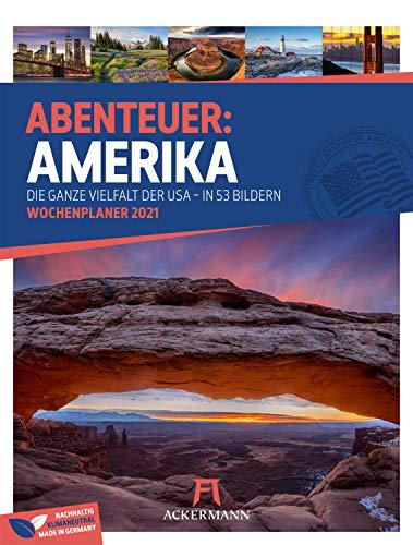 Amerika - Wochenplaner Kalender 2021, Wandkalender USA im Hochformat (25x33 cm) - Reise-Wochenkalender mit Rätseln und Sudokus auf der Rückseite