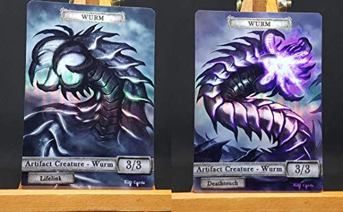 2X Artifact Wurms #1 FOIL Laminated Custom Altered Tokens (for Wurmcoil Engine)