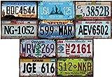 - Lot de 10 PLAQUES D' IMMATRICULATION de Voiture USA en métal - avec Effet Vieilli - répliques de Vraies plaques américaines (Old1+Old2)