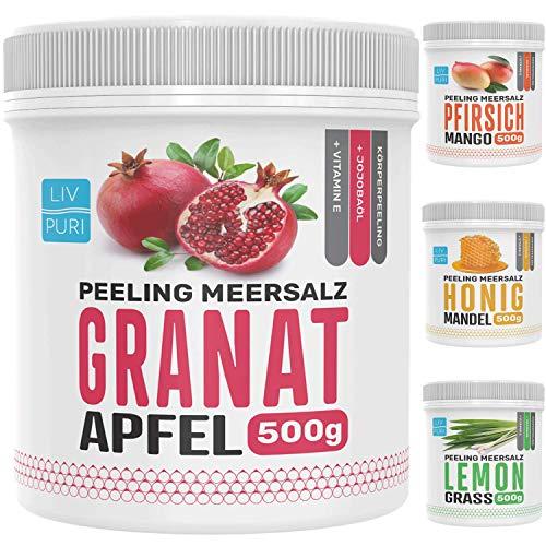 LivPuri Totes Meer Salz Peeling Granatapfel mit Jojobaöl, 500g natürliches Wellness Körperpeeling optimal als Saunasalz, Duschsalz, Badesalz, Body Scrub - sanfte & wohltuende Wirkung