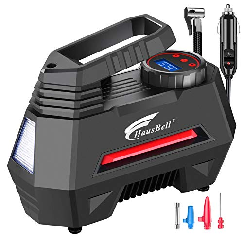 HAUSBELL Portable air Compressor for Car Tires, 12V DC Air Compressor tire inflator Pump, 150 PSI with Emergency LED Flashlight for Car, Motorcycles, Bicycles,Inflatables (Black)