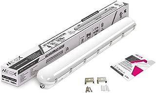 NEOX LED Garage Vapor Proof Fixture 4 feet 31W 5000K (Daylight) 3675 Lumen IP66 Waterproof - UL Listed, Frosted Lens