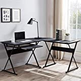 Frunimall L Shaped Computer Desk with Keyboard Tray 50.4' Reversible Computer Desk, Home Office Corner L Shaped Gaming Desk with Keyboard Shelf, Writing Study PC Workstation Table for Small Space