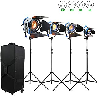 Alumotech Dimmer Built-in Fresnel Tungsten 150W+300W+650W+1000W+ Air Cushioned Stand 2100W Spotlight Halogen Lamp Studio Video Light Kit For Camera Photographic Lighting Compatible Bulb