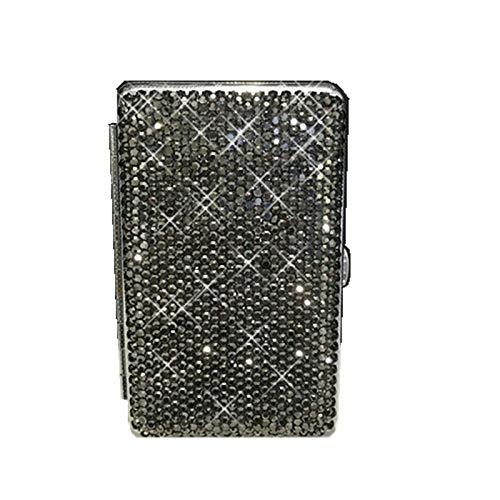 Mode glänzende Vollkristall Diamant Ms 20 Sticks dünne Metall Zigarettenetui Anti-Druck Bunte niedliche Zigarettenschachtel Liebhaber Geschenke-Schwarz