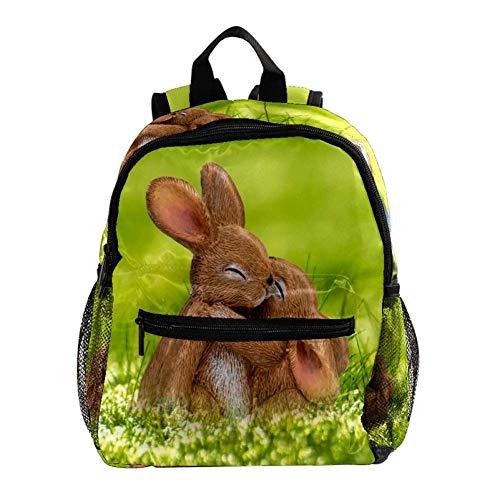 Wiese Osterhase Rucksack süße 12-Zoll-Mini-Pack-Tasche für Kinder Jungen oder Mädchen Schultasche und Frauen Tagesrucksack 25.4x10x30cm