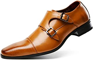 Happy-L Shoes, Elegant Oxfords for Men Formal Dress Shoes Casual Anti-Skid Loafers Stitching Genuine Leather Dual Monk Strap Square Toe Burnished Style