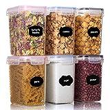 Aitsite 1.6L Tarro de Almacenamiento Plasico Recipientes para Cereales Jarras de Almacenamiento con...
