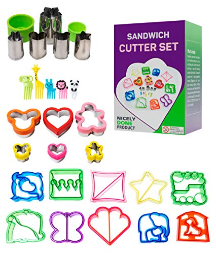 26 pc Sandwich Cutters Set for Kids, Sandwich Cutters Shapes Add to Lunch Box, Animal Shaped Sandwich Cutters, Small and Big Fruit and Vegetable Cutters, Stainless Steel Cookie Sandwich Cutters