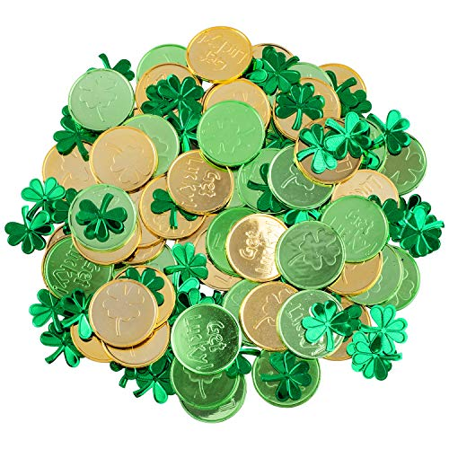 Whaline St Patricks Day Table Decorations, 100 Pcs Plastic Good Luck Coins and 1 Oz Shamrock Clover Confetti Table Sprinkles for Irish St Patricks Party Decoration Favors Supplies