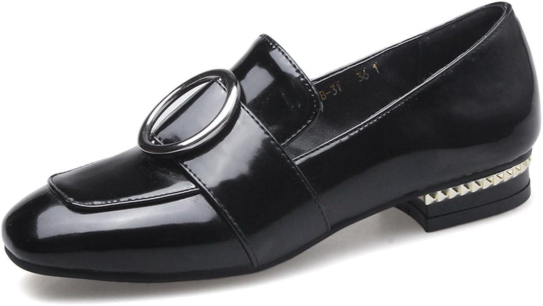 SaraIris Women's Chunky Low Heel Metal Decoration Loafer shoes