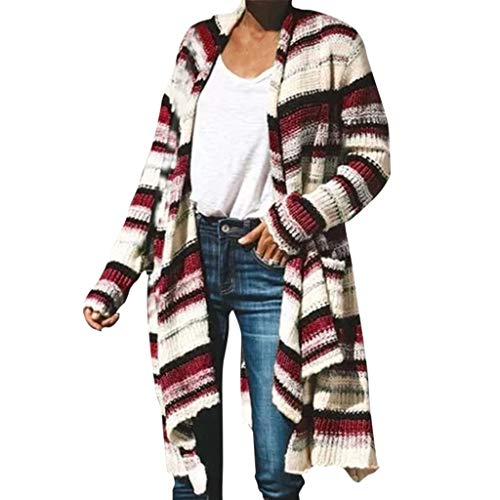 Plot Damen Cardigan Langarm Gestreift Strickjacke Casual Bunt Lose Outwear Coat Herbst Winter Strickpullover Strickmantel mit Taschen