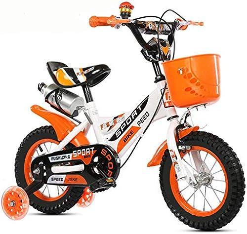 ZLMI Kinderfürrad, 14-Zoll-Kinderwagen 3-6 Jahre alt m er und Frauen Baby Vier Rad fürrad mit Blitz hilfsrad,Orange