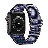 Lobnhot Solo Loop Compatible con Correa de Reloj de Apple 38mm 40mm, Pulsera de Nailon elástico Ajustable para iWatch Series 6/5/4/3/2/1 SE (38/40MM-Marina de Guerra Profunda)