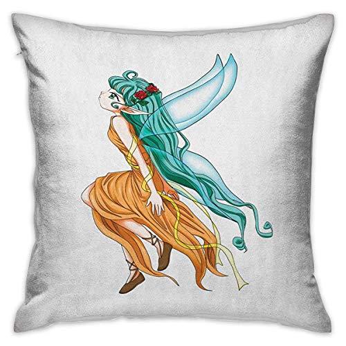 Funda de almohada cuadrada de anime, caricatura de Pixie Girl con un pelo largo y verde y alas, fantasía Elf, jengibre, verde mar y aguamarina, fundas de cojín, fundas de almohada para sofá, dormitori