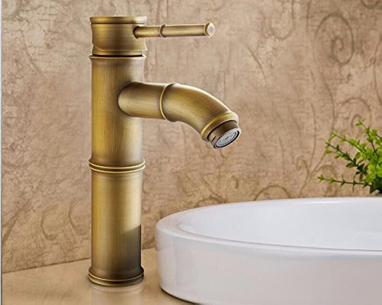 Bijjaladeva Antique Bathroom Sink Vessel Faucet Basin Mixer Tap Antique basin faucet antique solid brass basin faucet classic bamboo art basin cold water tap O