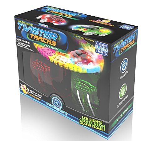 Mindscope Twister Tracks Neon Glow in The Dark Add On Race Car Series Set of 2 (Red Race & Yellow Race Cars)